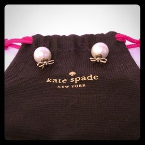 Kate Spade Bow Front Pearl Back Earrings